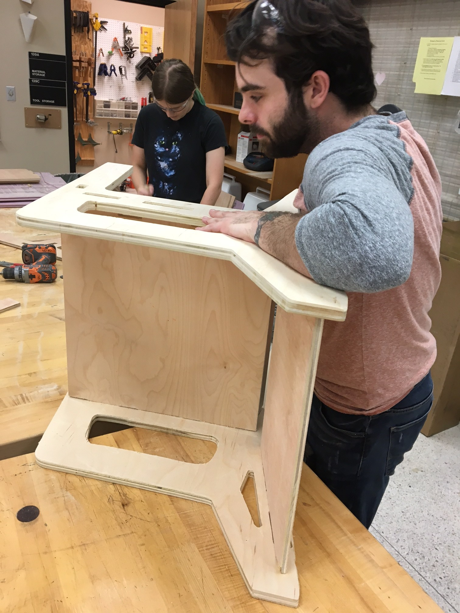 James O'Leary assembling his chair