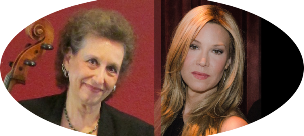Photo of cellist Theresa Villani, and pianist Colleen Schmitt in a composite photo.