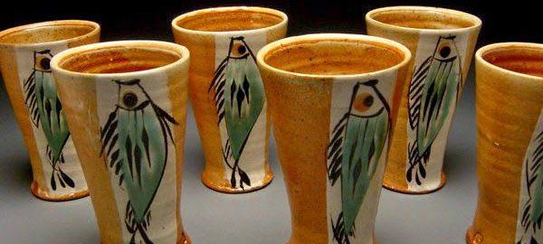 Ceramic cups with fish