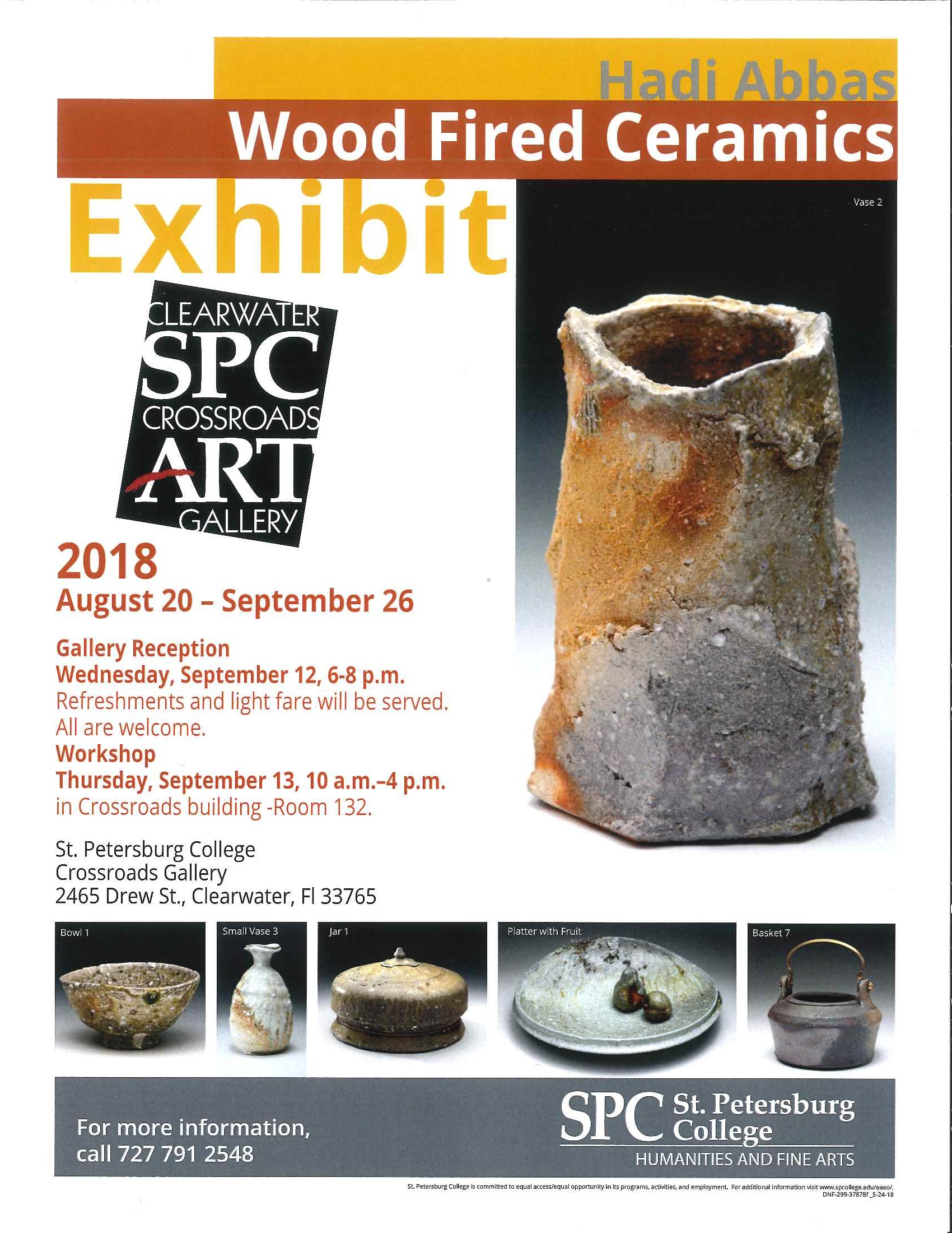 flyer showing six wood fired ceramics by Hadi Abbas. One is a tall cylinder vase rough cut texture with rust like flakes. A small speckel bowel with three finger like legs has a pebble cobblestone texture and color. A wavy flower bud vase has a water like shoreline texture and color. a Squished ceramic pot that looks and feels like a pumpkin is pictured. A thick heavy ridged plate with two ceramic peaches. And a slick earthy teapot like basket ceramic pot is the last image