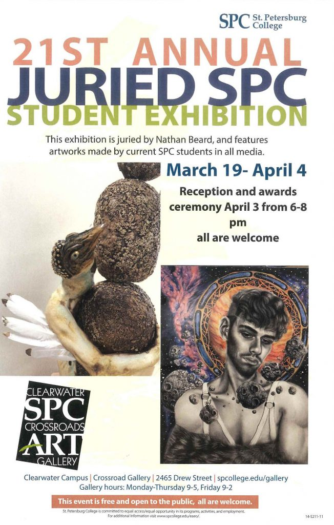 Annual Juried SPC student art exhibition 2019 the poster has two photos of the featured art work.  one photo is of a ceramic bird man climbing vertical rocks.  the second image is of a pen drawing of a young man with a pastel chalk drawing of the planet  Jupiter