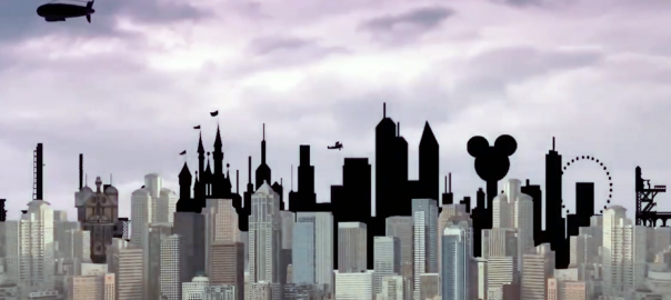 A smoggy city skyline with a blimp flying over it.