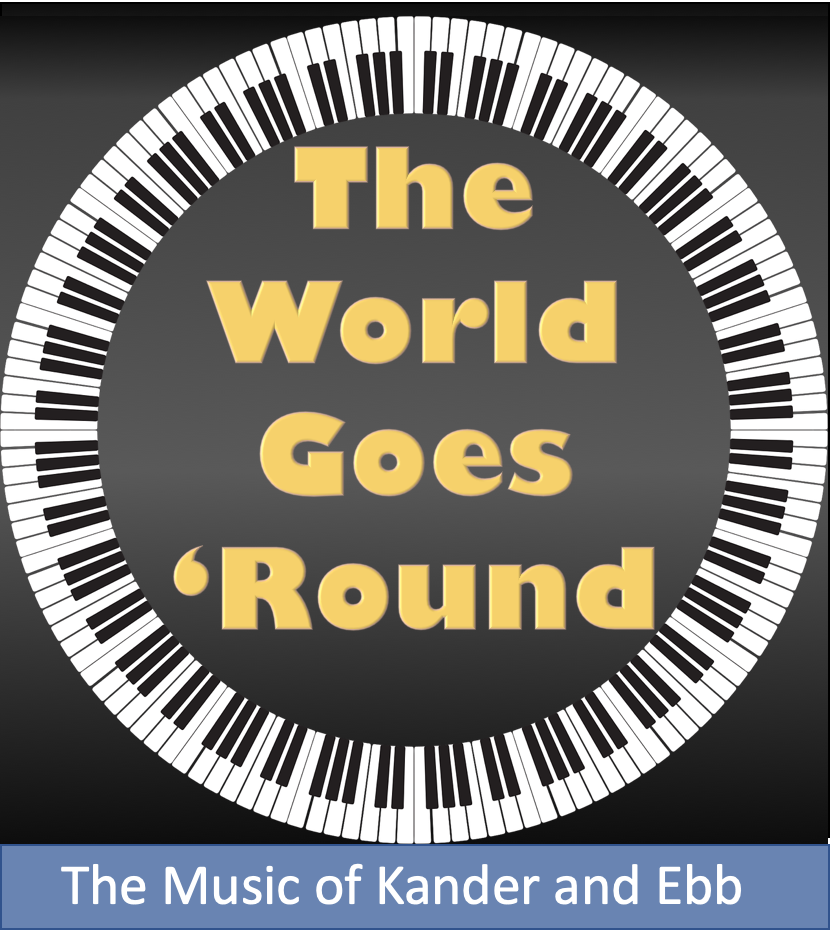 Text reads The World Goes Round in the center of a circle of piano keys