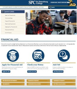 Financial Aid webpages