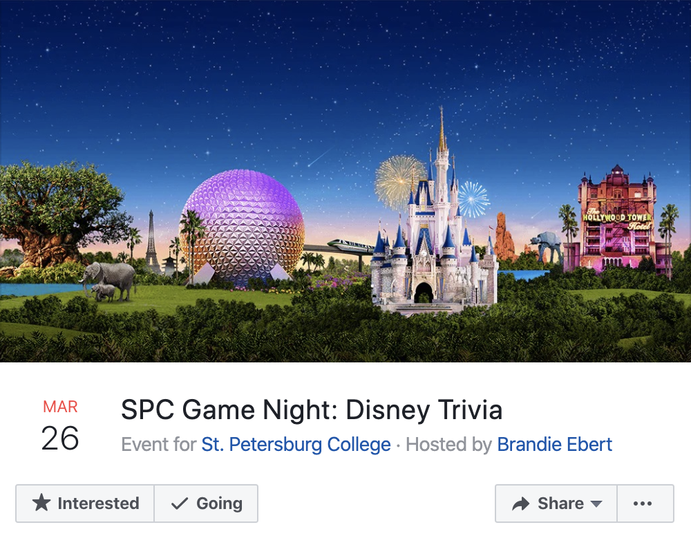 Screenshot of a Workplace online event for Disney Trivia