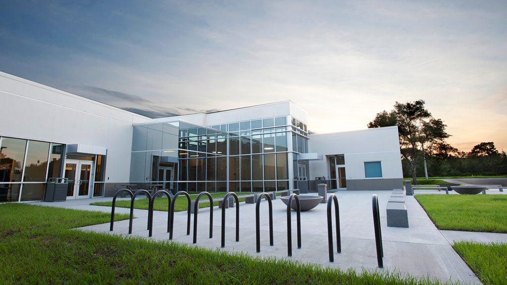 An exterior shot of SPC Vet Technology Center