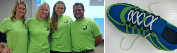 capstone group photo on left and picture of running shoe cake on right
