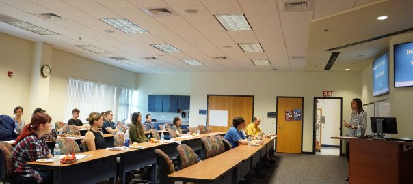 Levin Financial Director Chelsea Spenceley speaks to students at Seminole Campus