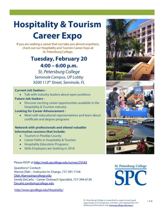 Flier for hospitality and tourism management career expo