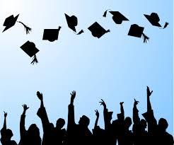 Art depicting graduates throwing their mortarboard hats