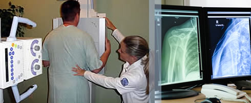 Photo collage of radiography related images