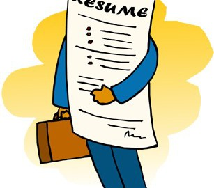 Illustration of man holding giant resume