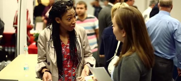 photo of student at a healthcare job fair