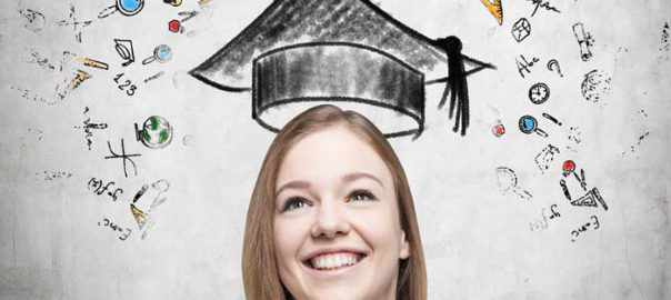 A young woman with a graduation cap drawn over her head.