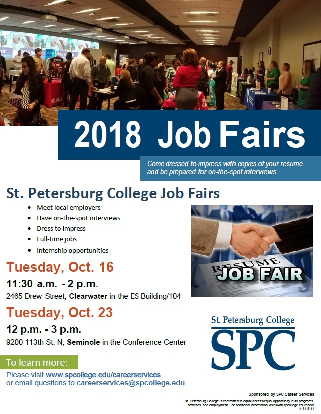 Flier for Fall 2018 Job Fairs