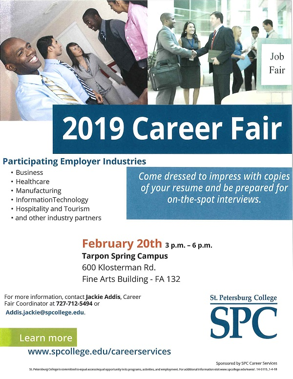 2019 Career Fair Tarpon Springs flier