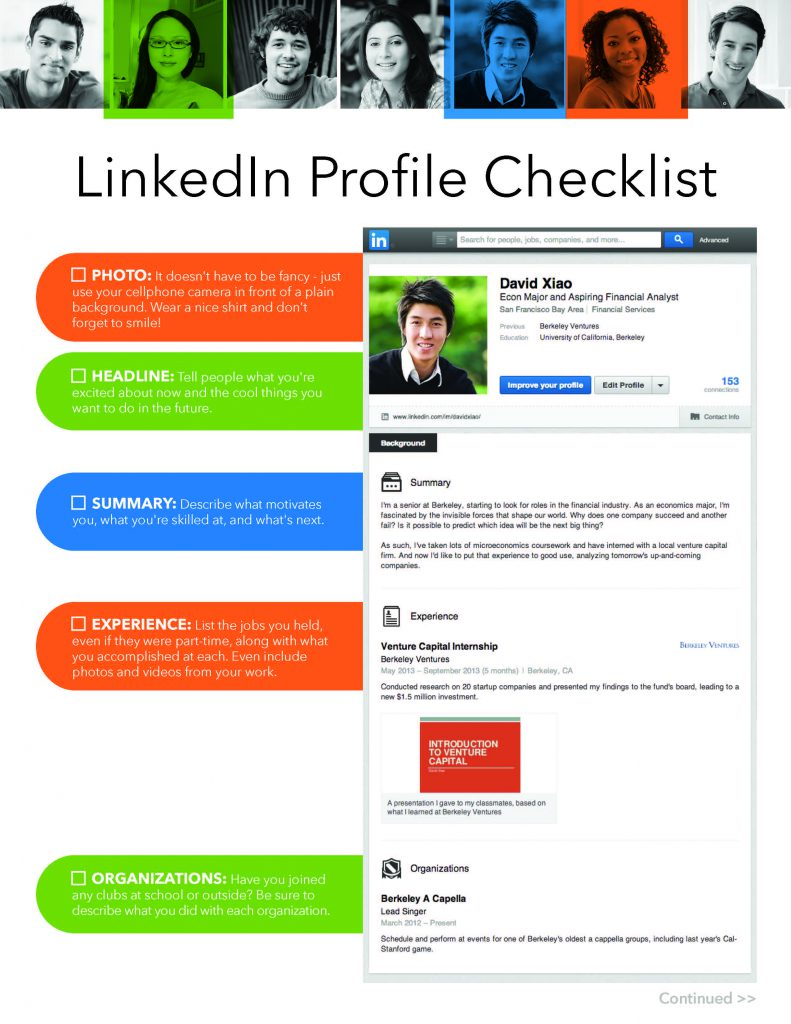 LinkedIn Profile Checklist screen capture