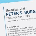 A graphic showing the fake résumé for a Peter S. Burg.