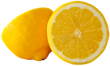 Two halves of a yellow lemon.