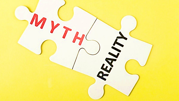 puzzle pieces with the words myth and reality