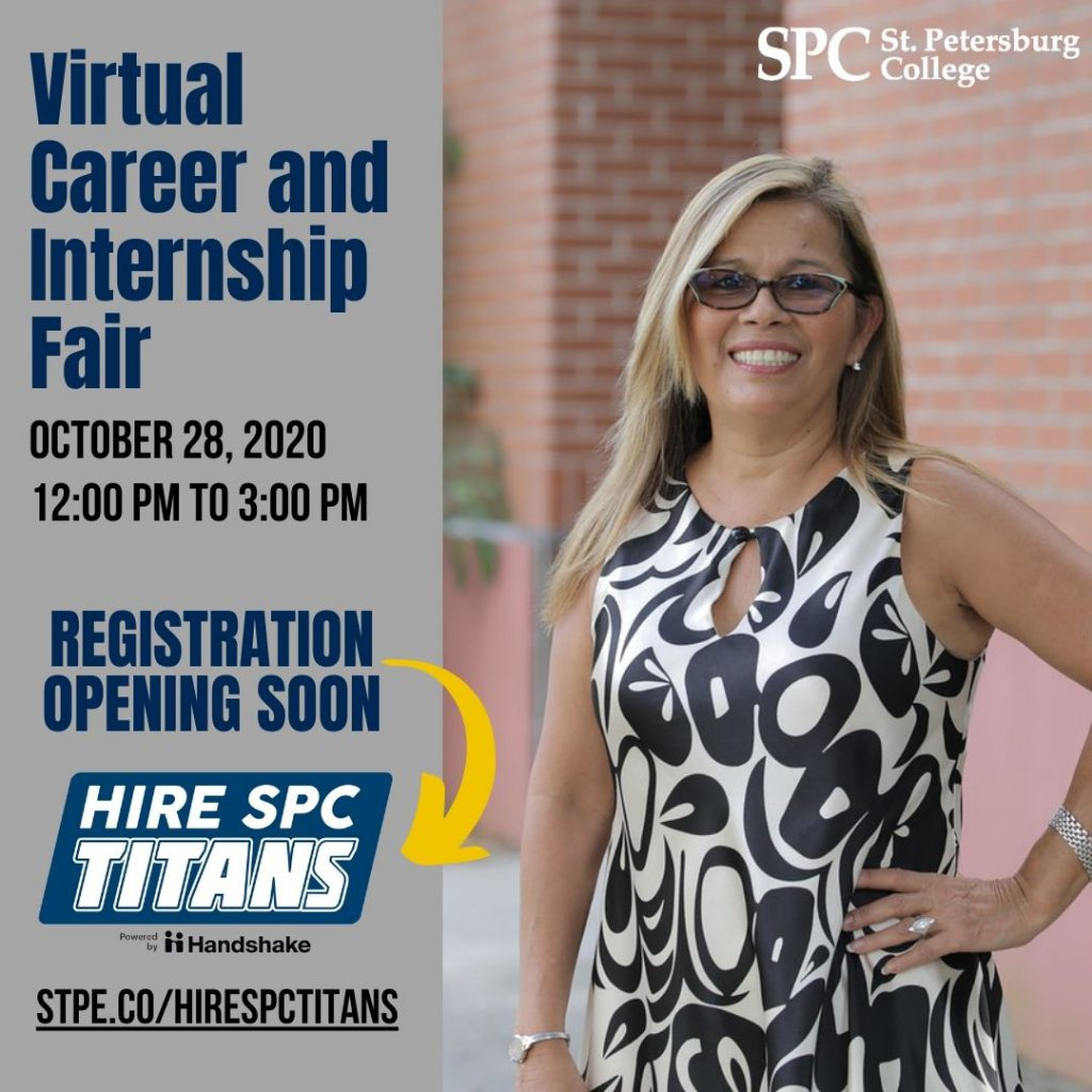 Woman in a black and white dress standing with her hand on her hip. Text promotes the career and internship fair on October 28.