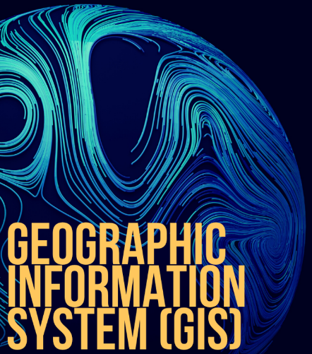 "Image of a globe with neon lights and caption ""Geographic Information System GIS"
