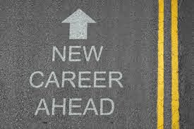 "Road with ""new career ahead"" written and arrow facing forward"