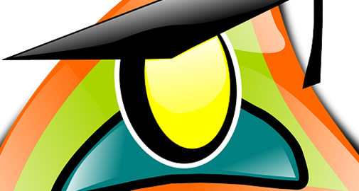 Cartoon wearing a graduation cap with a green and orange triangle in the background