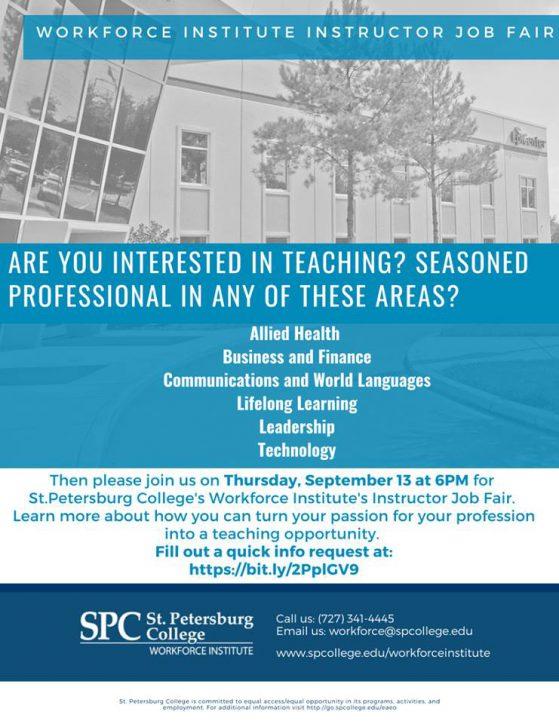 Workforce Institute Instructor Job Fair flier