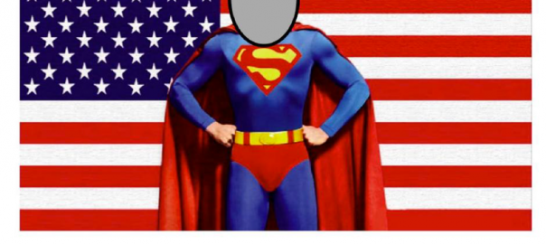 "A picture of Superman in front of an American Flag with his face cut out to say ""Insert your face here"""