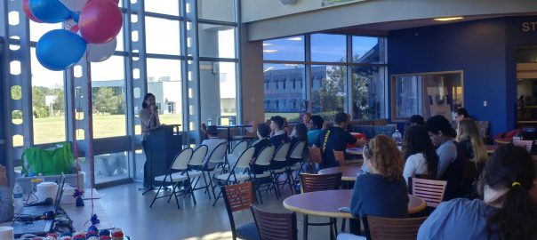 Students at the Seminole Campus listening to a speaker