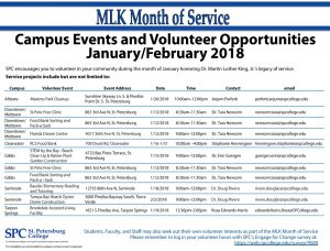 MLK Month of Service events lists