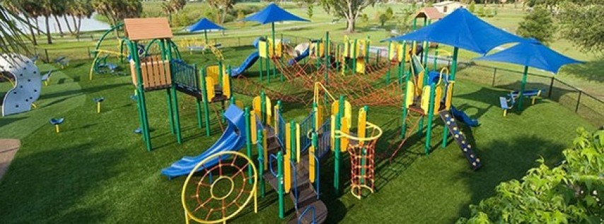 A bright and colorful playground.