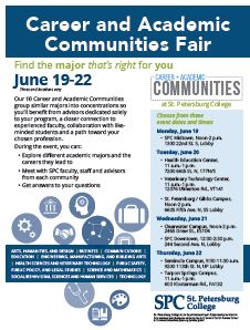 Explore communications degrees and careers at St. Petersburg College's Career and Academic Communities Fair June 19-22.