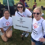 SPC College of Education volunteers helped directed soccer skills events at the Special Olympics.