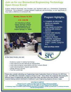 Biomedical Engineering Technology Open House flier