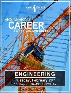 Workshop information focused on careers for engineering majors