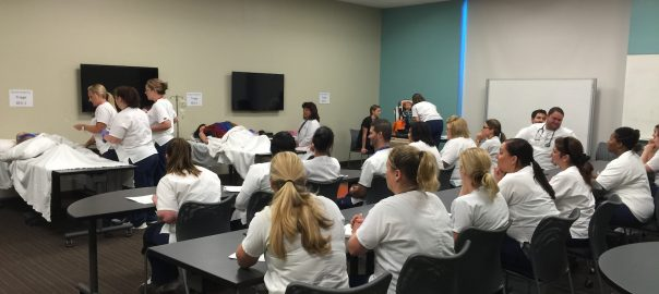 Students participating in the simulation