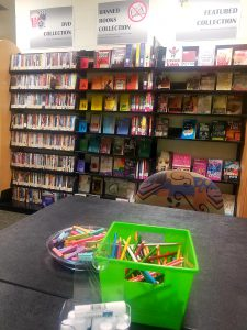 Photo of Banned Book display at the Tarpon campus library