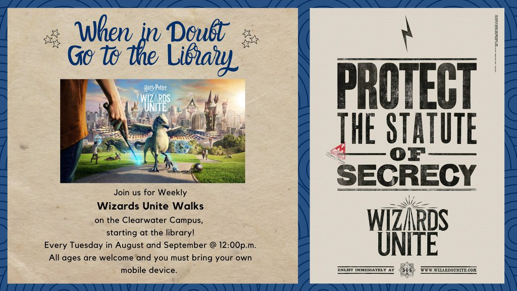 Wizards Unite walk at SPC Clearwater Campus Flyer, featuring Harry Potter inspired text