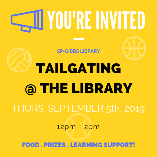 A flyer for the tailgating event being held at St. Pete / Gibbs Campus on September 5th, 2019 from 12pm-2pm.