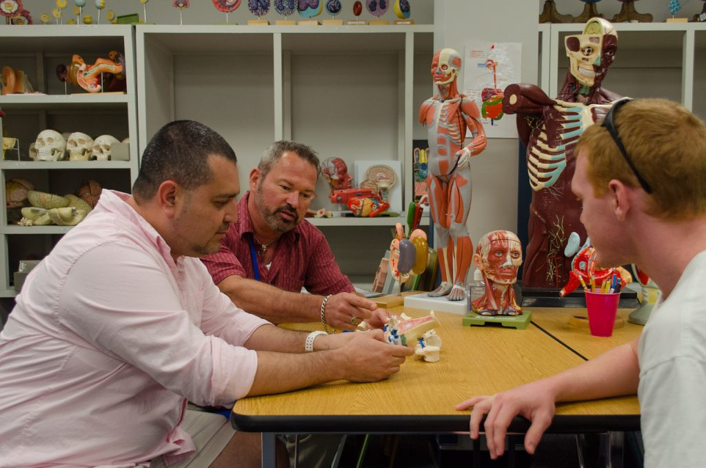 Two St. Petersburg College students attending tutoring with a specialist. They are surrounded by various health education tools, such as anatomical models, fake skulls, and organ replicas.