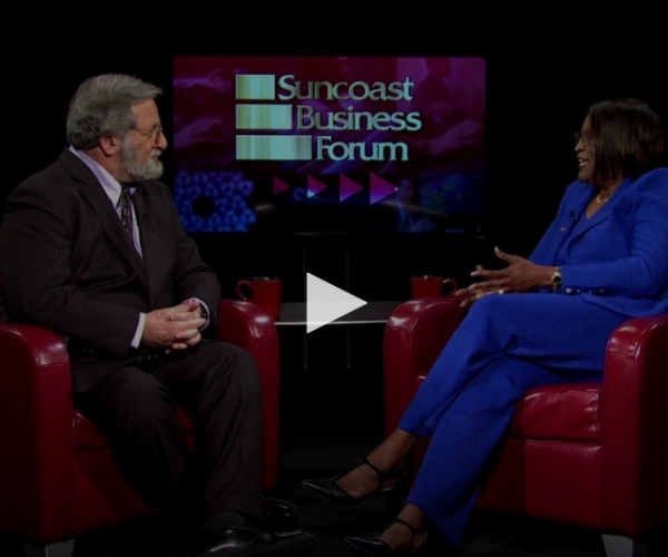 Photo of WEDU Suncoast Business Forum segment with President Tonjua Williams
