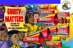 Graphic showing a divers group of people with megaphones. The words equity matters, beyond the statement, we are committed, resources, personal experience, respect, engagement, trust, connecting, and courage over comfort are listed on the drawing.