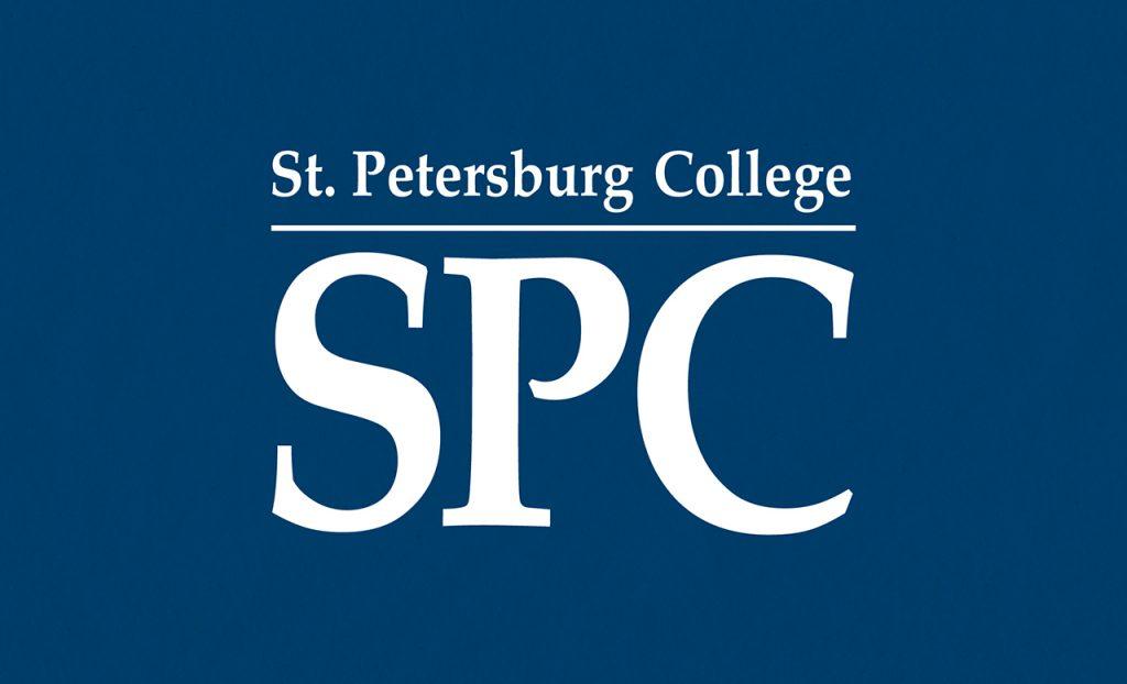 The St. Petersburg College logo in white on a dark blue background.