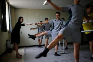 South Korean soldiers take part in a ballet class at a military base near the demilitarized zone separating the two Koreas in Paju, South Korea, July 13, 2016. REUTERS/Kim Hong-Ji