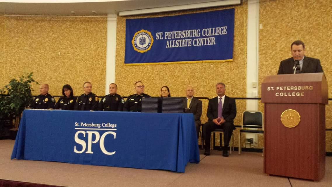 From left to right: Chief Robert Vincent, Gulfport Police Department; Assistant Chief Melanie Bevan, St. Petersburg Police Department; Chief Daniel Slaughter, Clearwater Police Department; Chief Michael Haworth, Pinellas Park Police Department; Lt. Armand Boudreau, Treasure Island Police Department; Dr. Anne Cooper, Senior Vice President of Instruction & Academic Programs; Dr. Brian Frank, AC FDLE Training Center Director; Mike DiBuono, Academy Coordinator; Paul Andrews, Academy Coordinator (Photo: St. Petersburg College – College of Public Safety Administration)