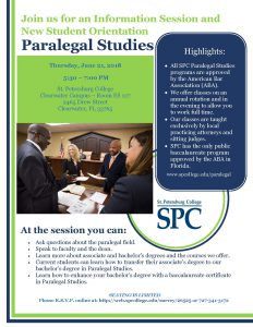 Flier for the SPC Summer Paralegal Studies Information Session