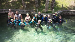 Students in the Summer 2014 course during a snorkel trip to Rainbow Springs, where they learned about aquifer and spring ecology.