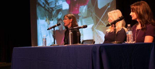 Panelists Nicole Stott, Laura Spence and Lindsay Milbourne address the Women2STEM Symposium Oct. 16 at SPC's Clearwater Campus.